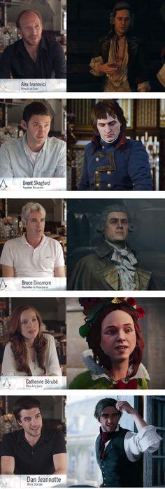 Los actores que interpretan a los personajes de Assassin's Creed Unity