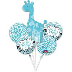 """Baby Shower It's a Boy Balloon Bouquet 5pcs Safari Aminals Giraffe party supply. Baby Shower Safari """"It's a Boy"""" Balloon Bouquet 5 pieces. Our Safari Balloon Bouquet is the perfect indoor or outdoor decoration for your adventurous party!. one Foil Supershape balloon size 25in x 42in / two coordinating circles 18'' and two circles 17'' balloons."""