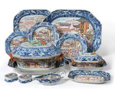 Parte de serviço em porcelana Chinesa de Cia das Indias do sec.18th, Periodo Qianlong, Familia Rosa, 1 sopeira com presentoir, 2 legumeiras / terrinas de molho com presentoir, 1 molheira, 2 saleiros, 7 travessas de carne, 12 pratos de jantar, 10 pratos de soupa, 173,100 EGP / 69,500 REAIS / 20,855 EUROS / 22,700 USD  https://www.facebook.com/SoulCariocaAntiques