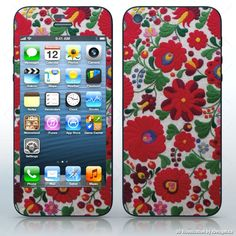 Kalocsai Motif , Hungarian folklore pattern , Cell Phones / Apple iPhone 5/5G decal skin wrap sticker, Flowers / Butterflies