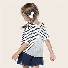 Bluzka dla dziewcyznki 2-9 lat. Camisola de riscas com bordado Azuis