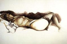 Renato Guttuso Nudo sdraiato con calze nere