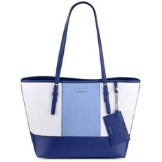 Nine West Snow Petalindia Inkriver Blue Ava Tote (725 MXN) ❤ liked on Polyvore featuring bags, handbags, tote bags, blue tote bag, white tote bag, white tote purse, blue tote and tote purses