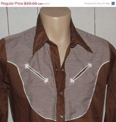 Snow Sale Vintage 70s Rockmount Western Cowboy Shirt by clovas, $24.65