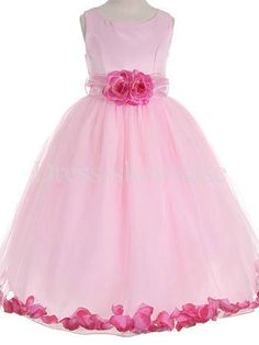 Ball gown floor length flower girl dress with flower sash Little Girls Dress Shoes, Pretty Flower Girl Dresses, Princess Flower Girl Dresses, Flower Girls, Ball Dresses, Cute Dresses, Beautiful Dresses, Ball Gowns, Girls Dresses