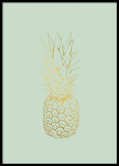 Stylish poster with the outline of a pineapple. Posters printed with gold are really trendy right now and we use golden foil to really get that shimmering finish. www.desenio.com