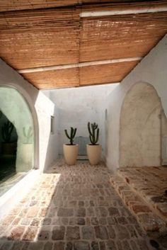 Two tall potted cactus stand outside a clay home and stone floor with a beautiful half-moon window. This is a bold demonstration of how house plants can contribute to your interior design. Exterior Design, Interior And Exterior, Kitchen Interior, Hotel Am Meer, Tadelakt, Spanish Style, Interior Architecture, Outdoor Living, Ibiza