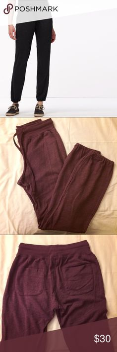 burgundy sweat pants the cover photo is the same style in black.  I'm selling a used wine color.  elastic waist and ankle.  it is a james perse size 1.  there are two areas inside where the thread is coming off.  supima cotton, modal, polyester. James Perse Pants