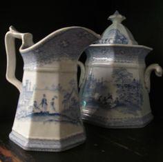 Antique blue English transferware creamer and sugar...part of my colleciton