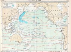 vintage pacific ocean map. love the soft colors
