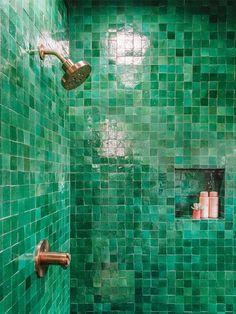 ideas bathroom black shower tile ideas for 2019 Mold In Bathroom, Small Bathroom, Master Bathroom, Bathroom Showers, Bathroom Black, Bathroom Cabinets, Bathroom Ideas, Green Bathroom Tiles, Restroom Cabinets