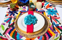 Beautiful fiesta party featured here.  Love the mexican fabrics.  Have Carolyn bring some home from Mexico.