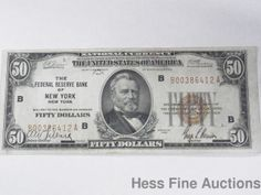 1929 Federal Reserve Bank Of New York United States Currency $50 Bill Note