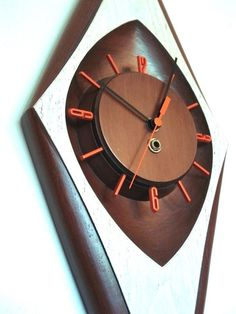 1960's Vintage Retro BURWOOD Mid-Century Modern Diamond WALL CLOCK Eames Era NR!