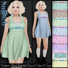 Mesh Babydoll Dress SL Freebie. Second Life Prizes Free! It comes in several colors: aqua, beige, blue, jade, pink, violet, white and yellow. And there are
