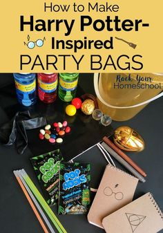 You can make amazing Harry Potter-Inspired party bags. Great for birthday parties, classroom use, family, & homeschool fun! #HarryPotter #HarryPotterparty