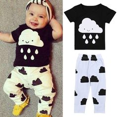 Barato 2016 Novo estilo verão Crianças fresco set bebê meninos meninas roupas…