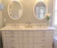 old dresser turned into gorgeous double sink vanity