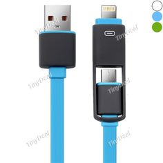 2 in 1 8 Pin Micro USB Cable 1M Flat Noodles Charge/Sync Cable for iPhone 6s/6/SE Samsung Smartphone EPACB-511207
