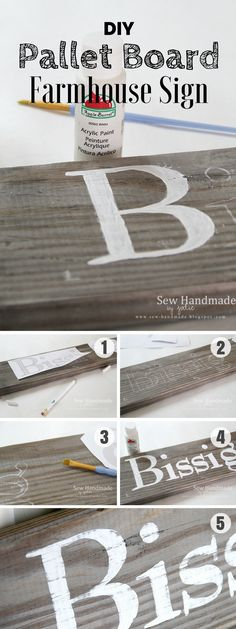 17 Fab DIY Farmhouse Signs You Can Make Yourself - how to make an easy #DIY Pallet Board Sign for farmhouse decor #homedecor