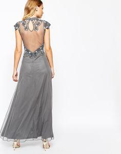 Frock and Frill Embellished High Neck Maxi Dress with Mesh Back $242.00 AT vintagedancer.com