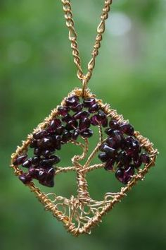 Garnet Gold Tree of Life Hand Wire Wrapped Pendant