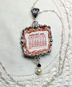 Broken China Jewelry Pendant Necklace and by Robinsnestcreation1, $44.59