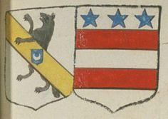 Armand CLABAT, Escuier, Sieur du Chillou, et Marie-Gabrielle IRLAND, son espouze. Portent : d'argent, à un loup rampant de sable, entravaillé ou passant sa patte senestre sur une bande d'or, brochante sur le tout, chargée en coeur d'un écusson d'azur, surchargée d'un croissant d'argent ; acolé d'argent, à deux fasces de gueules, surmontées de trois étoiles d'azur, rangées en chef | N° 37