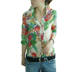 c33cdcdcaff11 Vintage Fashion Women Shirt Colorful Floral Flower Print Turn-down Collar  Button Chiffon Blouse Tops Green Red
