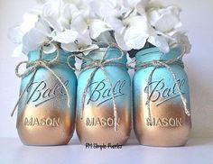 Gold and blue mason jar centerpiece, home decor, rustic home decor, gift ideas http://RMSimpleRustics.etsy.com