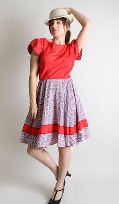 Vintage Lolita Patio Dress Square Dance Full Circle by zwzzy