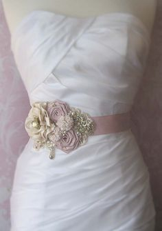Blush Pink Bridal Sash Champagne Ivory and Gold by TheRedMagnolia