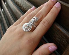 Group of 3 Beads Wire Wrapped Ring by MeggieRiley on Etsy