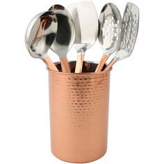 Make your kitchen and dining experience great with the COPPER 6 PC UTENSILS W/CROCK. You can purchase this, and find other affordable Kitchen Tools & Utensils, at your local At Home store. Copper Cutlery, Cutlery Set, Copper Kitchen Decor, Home Decor Kitchen, Kitchen Dining, Kitchen Utensils, Kitchen Gadgets, Clever Kitchen Ideas, Small Kitchen Renovations
