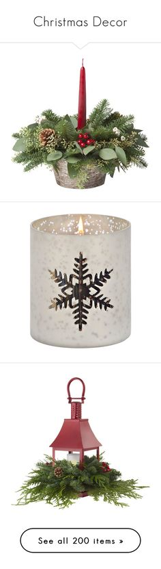 """Christmas Decor"" by suelb ❤ liked on Polyvore featuring home, home decor, candles & candleholders, white candle holders, white candlestick holders, mercury glass votive candle holders, mercury glass votive holders, mercury glass candle, silver home accessories and silver pillar candle holders"