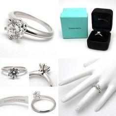 Tiffany & Co Engagement Ring Diamond 6-Prong Solitiare Solid Platinum