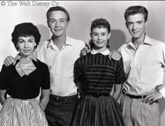 Remember these teens? From the 1959 Disney movie, 'The Shaggy Dog' L-R Annette Funicello, Tommy Kirk, Roberta Shore, and Tim Considine who'd have the role of Mike on My Three Sons that next year in Annette Funicello, Tim Considine, Original Mickey Mouse Club, American Bandstand, Star Show, Vintage Disney, Vintage Tv, Vintage Photos, Old Tv Shows