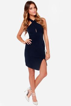 Keepsake Motionless Navy Blue Dress at Lulus.com!