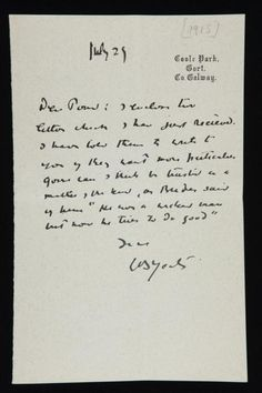 A letter from James Joyce to Ezra Pound, ca. 1915, discussing...