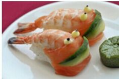 Creative food presentation idea . Prawns