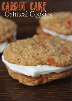 Carrot Cake Oatmeal Cookies Recipe #desserts #dessertrecipes #yummy #delicious #food #sweet