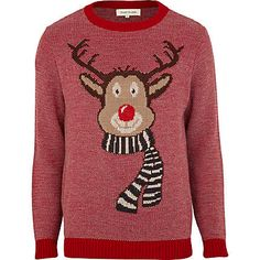 Red Christmas reindeer jumper - jumpers - knitwear - men