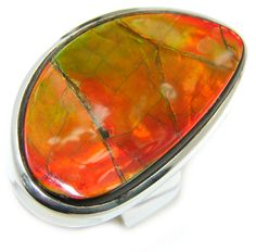 $158.95 Wild+Red+Fire+Genuine+AAA+Ammolite+Sterling+Silver+ring+size+8 at…