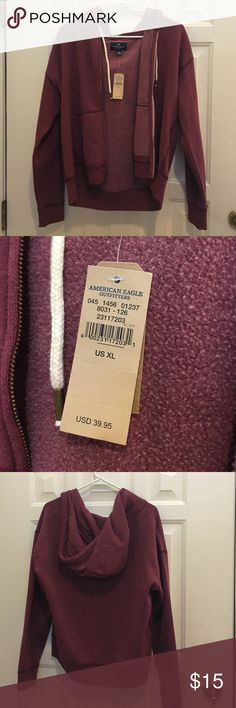 Burgundy American Eagle Zip up Hoodie New with tag!! American Eagle Outfitters Tops Sweatshirts & Hoodies