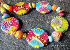 jasmin french  siddhartha  lampwork beads set sra