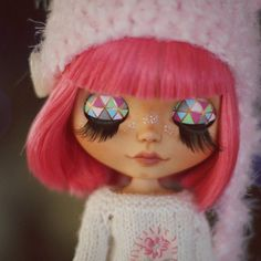 Ooak custom blythe doll pink factory hair by BlythemagicShop