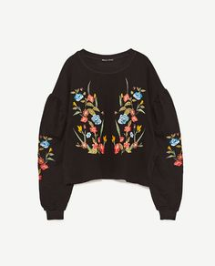Image 8 of FLORAL EMBROIDERED SWEATSHIRT from Zara