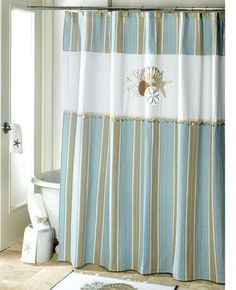 Avanti Linens By The Sea Fabric Shower Curtain And 12 Deluxe Shower Hooks, Blue