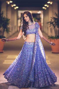 Nishka Lulla in Neeta Lulla - lehenga - reception - bride - blue - purple - Indian fashion - love the colour Indian Wedding Fashion, Indian Wedding Outfits, Bridal Outfits, Indian Outfits, Indian Fashion, Bridal Dresses, Indian Clothes, Indian Bridal Lehenga, Red Lehenga