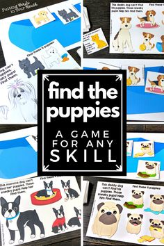 The puppies are missing - and it's up to your students to find them! They will adore playing this open-ended game that reinforces skills like sight words, math facts, articulation, fluency, and answering questions. It can be used with 2 to 6 players. OH, and it's easy to prep and print! Articulation Therapy, Articulation Activities, Speech Therapy Activities, Language Activities, Learning Games For Kids, Preschool Games, Speech Therapy Games, Play Therapy Techniques, Social Thinking